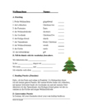 Weihnachten - German Christmas Worksheet