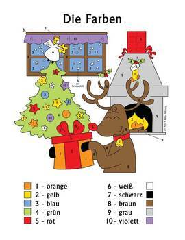 Weihnachten und Farben German Christmas Colors Color by Number Reindeer Deutsch