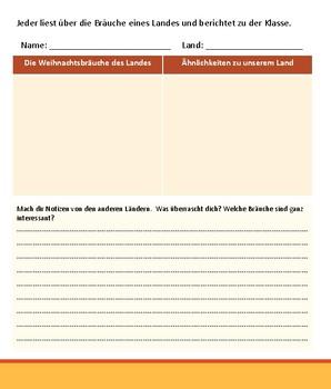 (GERMAN LANGUAGE) Weihnachtsbräuche Weltweit - Reading guide - AUF DEUTSCH