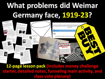 Weimar early problems - 12-page full lesson (starter, notes, task, plenary)