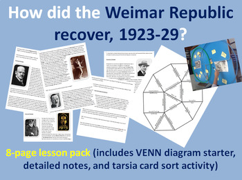 Weimar Golden Years - 8-page full lesson (starter, notes, Tarsia card sort)