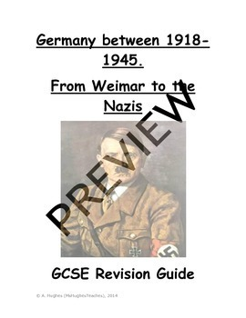 Weimar and Nazi Germany Revision Test Prep 38 page book