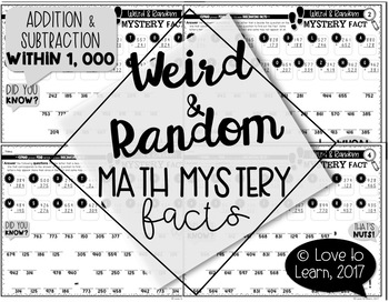 Weird & Random Math Mystery Facts **Addition & Subtraction within 1 000**