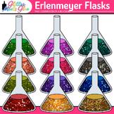 Rainbow Erlenmeyer Flasks Clip Art {Chemistry Lab Equipmen