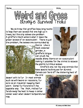 Weird and Gross:  High-Interest Informational Text Passages