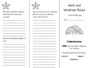 Weird and Wondrous Rocks Trifold - Into Reading 4th Grade Module 6 Week 2