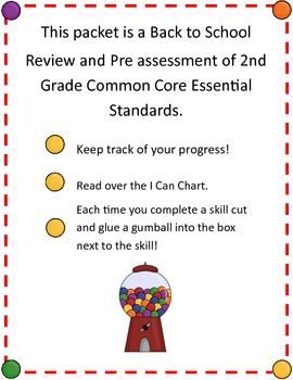 WelGUM to Back to School 2nd Grade Common Core Pre Assessment and Review