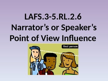 LAFS ACADEMIC LANGUAGE WORD WALL-Narrator's or Speaker's Point of View Influence
