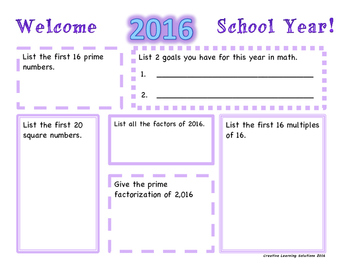 Welcome 2016 School Year-Warm-up Activity for Middle School Math