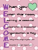 Welcome Acrostic Poem Poster