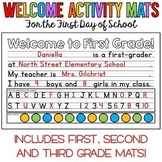 Welcome Activity Mats for the First Day of School - First,