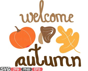 Welcome Autumn Fall Happy Word Art clipart Pumpkins leaf holiday pumpkin  450s