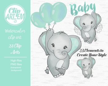 Welcome Baby elephant watercolor clipart in mint green and ...