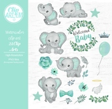 Welcome Baby elephant watercolor clipart in mint green and gray