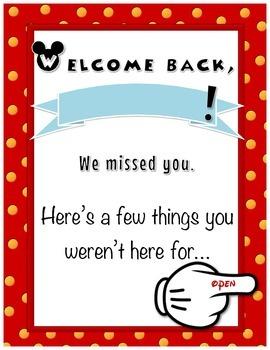 Welcome Back- Absent Folder- Disney Theme