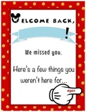 Welcome Back- Absent Folder- Disney Theme