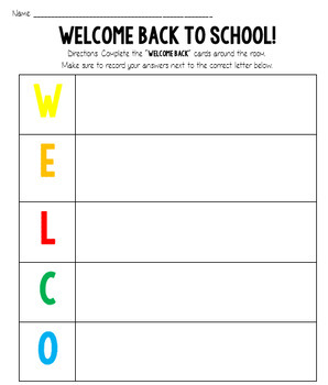 Welcome Back Activity