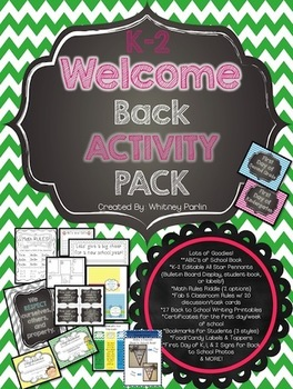 Welcome Back Activity Pack {Back to School Printables} K-2