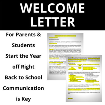 Welcome Back/Back to School Letter for Parents