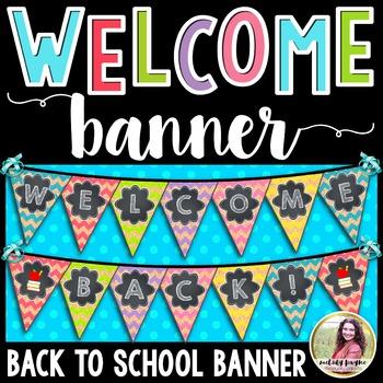 Welcome Back! Back to School Banner {Chalkboard, Chevron, Cork Pennant}
