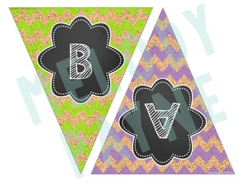 Welcome Back! Back to School Banner {Chalkboard, Chevron, Cork Pennant}