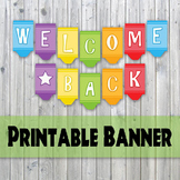 Welcome Back Banner - Crayon Design Printable Banner - Back To School