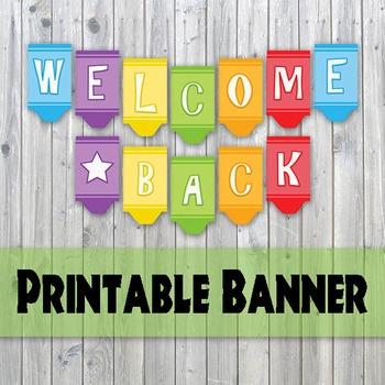 Welcome Back Banner - Crayon Design Printable Banner - Back To School