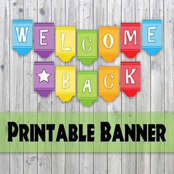 Welcome Back Banner - Crayon Design Printable Banner - Bac