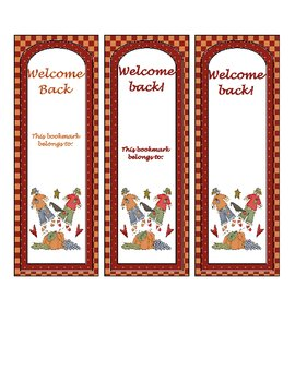 Welcome Back Bookmarks