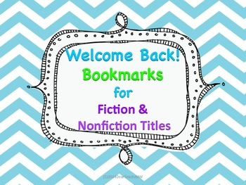 Welcome Back Bookmarks for Fiction and Nonfiction Titles