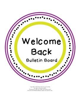 Welcome Back to School Bulletin Board Letters