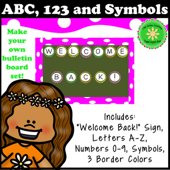 Welcome Back, Letters, Numbers and Symbols Bulletin Board Set