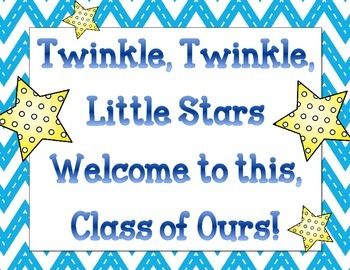 Welcome Back Bulletin Board Set Twinkle Twinkle Little Stars.