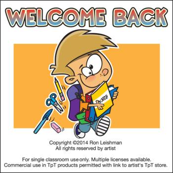 Welcome Back to School Cartoon Clipart Sampler