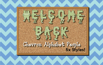 Welcome Back Chevron Alphabet People / Letters for Bulletin Boards