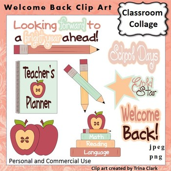 Welcome Back To School Clip Art -  Color  personal & commercial use