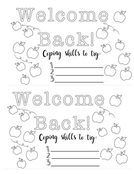 Welcome Back Coloring Coping Skills Page