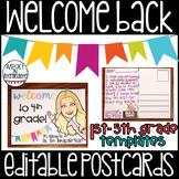 Welcome Back Editable Postcards Editable