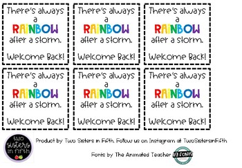 **FREEBIE** Welcome Back After a Storm Gift Tag