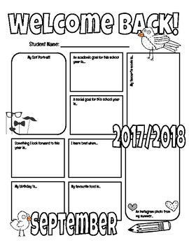 Welcome Back Graphic Organizer (September)