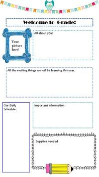 Editable Meet the Teacher Letter-Blue