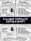 Welcome Back Letter - Editable Syllabus Template