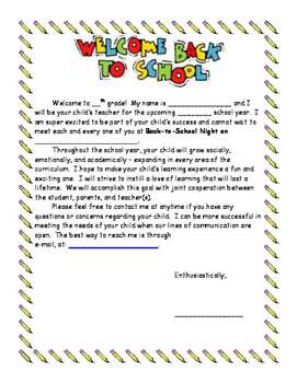 Welcome Back Letter (Fill-in-the-blank!)
