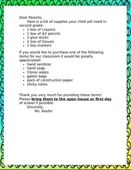 Welcome Back Letter and Supply List (editable in Word)