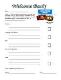 Welcome Back Missed Assignment Form