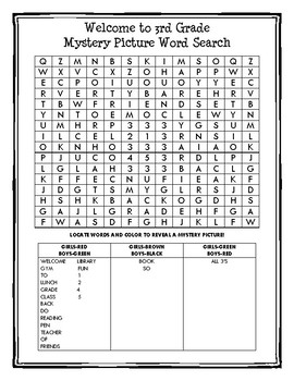 Welcome Back Mystery Picture Word Search 3rd grade