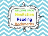 Welcome Back Nonfiction Reading Bookmarks