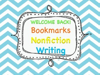 Welcome Back Nonfiction Writing Bookmarks