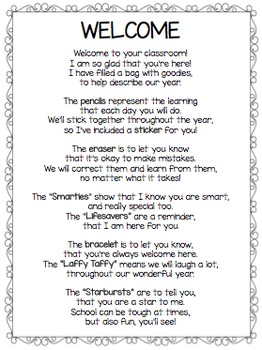 Welcome Back Poem for Back to School Goodie Bag