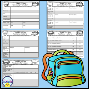 First Week of School Work & Student Data Forms for Pre-K, Kindergarten & 1st